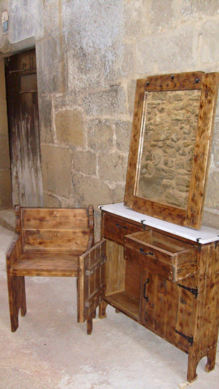muebles de antes BANCO, ESPEJO Y MUEBLE RECIBIDOR