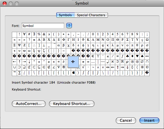 special symbol in word