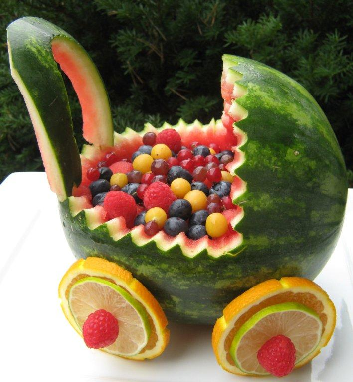 The happy raw kitchen watermelon baby buggy for Baby shower fruit decoration ideas