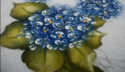 pintura em tecido hortencias