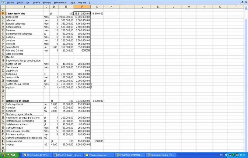 Precio unitario gastos generales for Precio mano de obra construccion