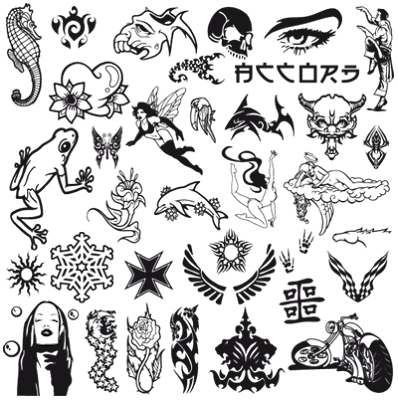 of some tattoo cliparts. Authors unknown. 1 AI : 2,9 MB Download