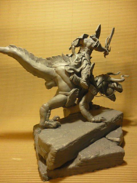 guerrero sobre dino