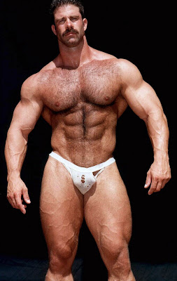 Hairy men bodybuilders