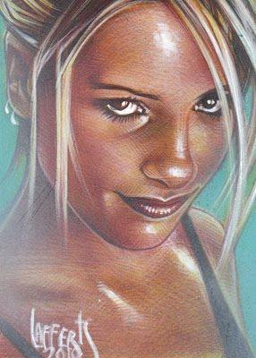 Sarah Michelle Gellar as Buffy The Vampire Slayer, Original Art by Jeff Lafferty