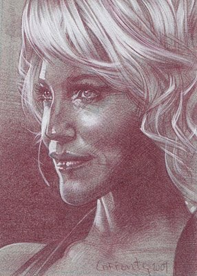 Tricia Helfer (Pencil study) ACEO Sketch Card by Jeff Lafferty