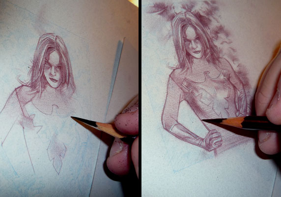 Phoenix in progress  ACEO Sketch Card by Jeff Lafferty