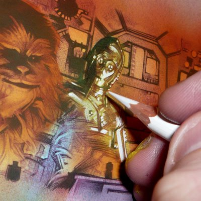 Millennium Falcon, in-Progress, ACEO Sketch Card by Jeff Lafferty