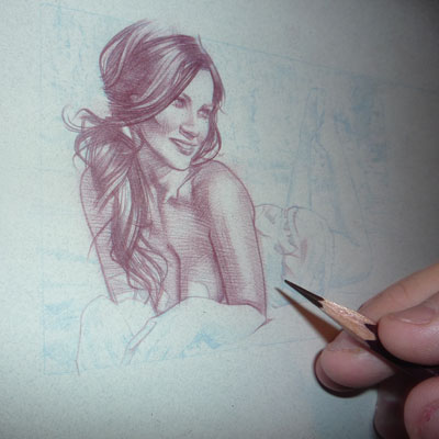 Denise Milani Original Art by Jeff Lafferty