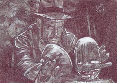 Indian Jones (Pencil study) ACEO Sketch Card by Jeff Lafferty