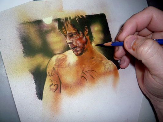 Brad Pitt Painting by Jeff Lafferty