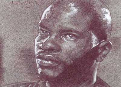 Keith David as Childs (Pencil study) ACEO Sketch Card by Jeff Lafferty