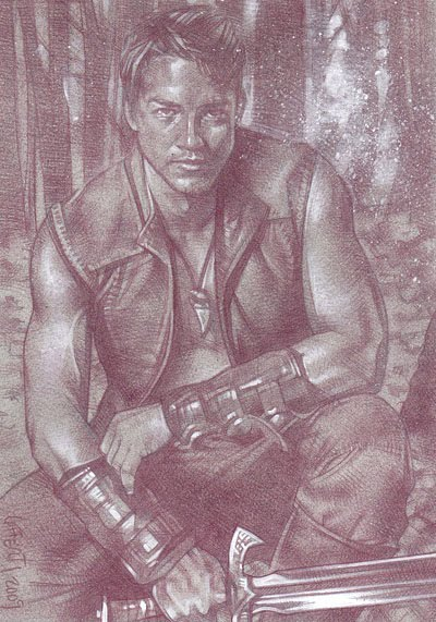 Craig Horner as Richard Cypher, Legend of the Seeker (Pencil study) ACEO Sketch Card by Jeff Lafferty
