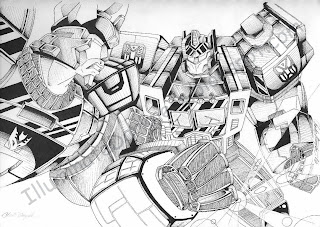 Galvatron fighting Optimus Prime