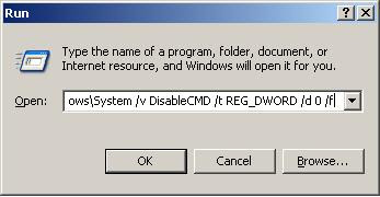 Command prompt has been disabled