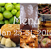 Menu Plan: Jan 25- 31, 2010