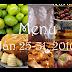 Menu Plan: Jan 25- 31, 2010