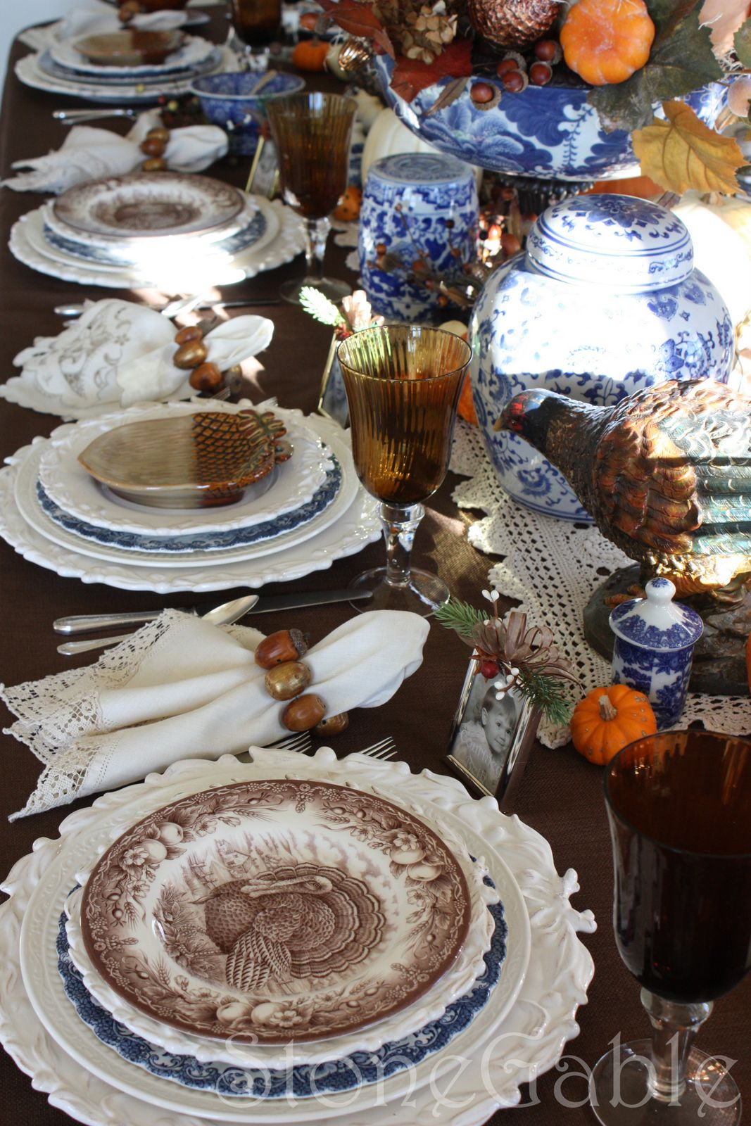 Both variations are anchored with a creamy white charger and an Italian Countryside dinner plate. These plates bring uniformity to the table settings. & Thanksgiving Table and Giveaway Winner - StoneGable