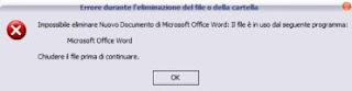impossibile eliminar il file in uso