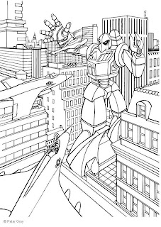 Manga Transformer attacking airplane in the city between buildings coloring page drawing sketch pic