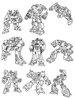 Transformers Characters in different positions coloring page hd(hq) wallpaper