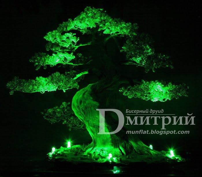 Моя третья работа из серии ночных светильников: Бонсай в стиле Sharimiki.