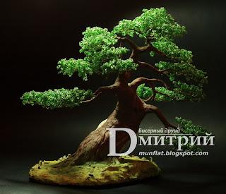 sharimiki, ночной светильник, бисерное дерево, бисер, бонсай, bead, tree