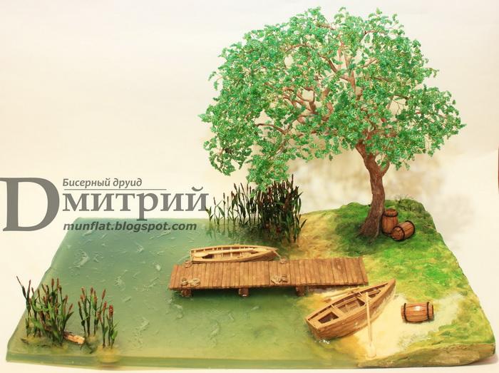 Композиции из бисера деревья - Глициния из бисера мастер класс.