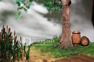 имитация воды, волн, причал, бочка, лодка, бисерное, дерево, бисерные, деревья, композиция, канат, камыш, бочки, бисерный, друид