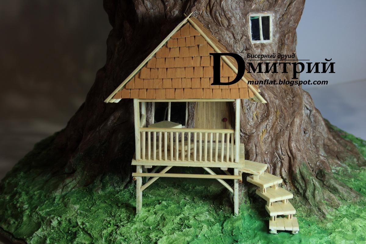 ночной светильник, бисерное дерево, волшебный домик, башенка, мансарда