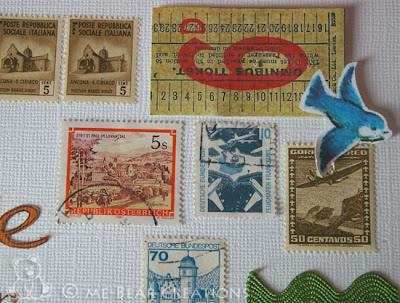 scrapbook, layout, sassafras lass, woodland whimsy, postage stamps, postzegels
