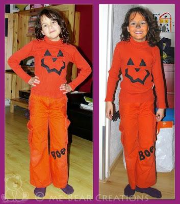 altered art, altering, cloths, jumper, trousers, halloween, pumpkin, pumpkin jack, boo, orange, party, sewing, ric-rac, felt, wet felting, needle felting, spider, pimp, kleding, broek, trui, shirt, vilt, natvilten, naaldvilten, spin, ornaje, boe, pompoen, feest