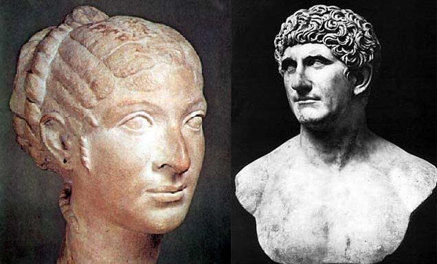 cleopatra and mark antony Read about the historic romance of roman general mark antony, also known as  marcus antonius, and queen cleopatra vii of egypt, at biographycom.