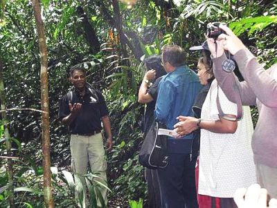 Informative: Madi explaining about wild flora and fauna to members of the media and guests.