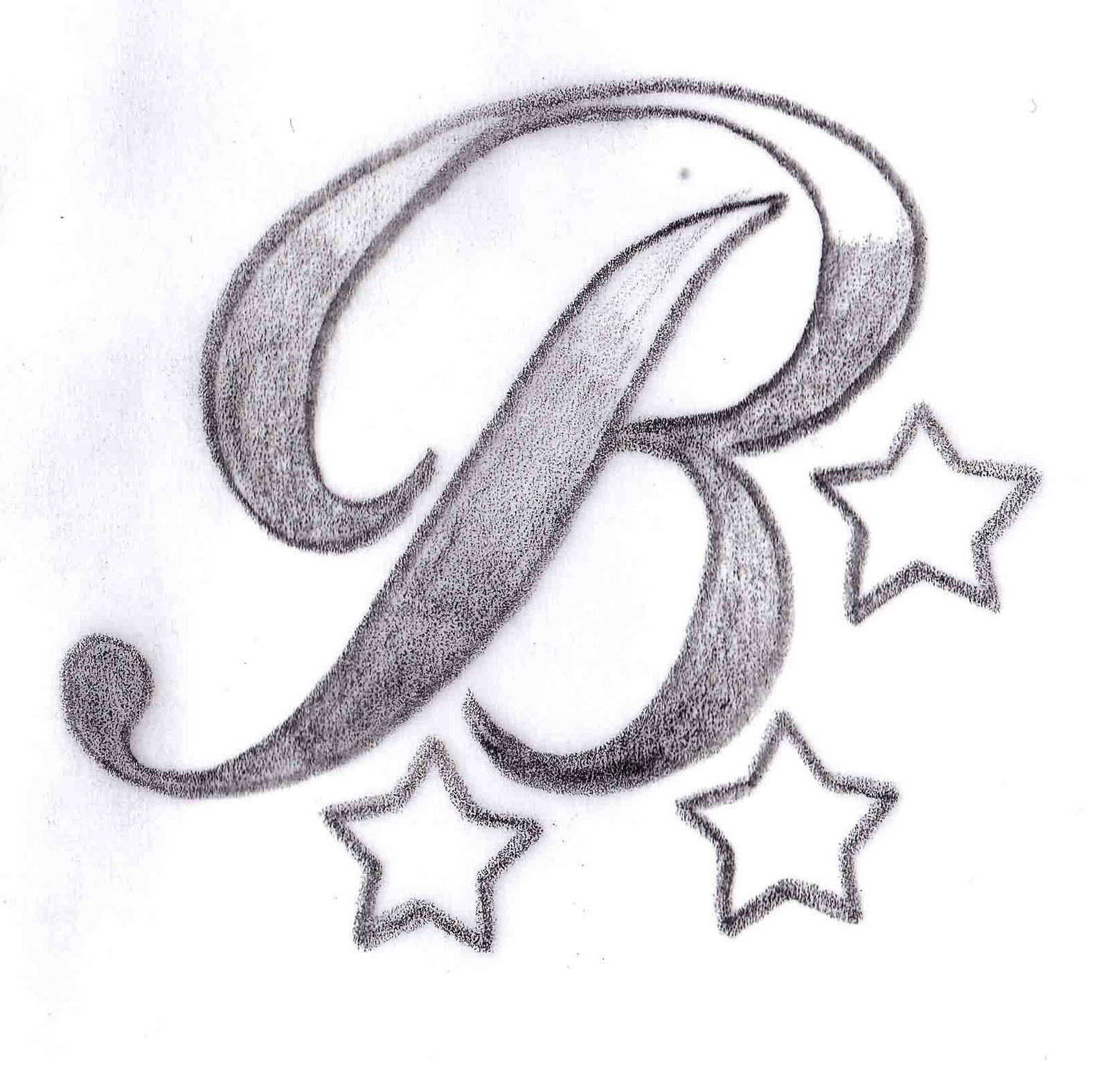 b tattoo design
