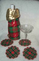 Holiday Bottle Cover and Coaster Set