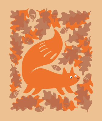 autumnal squirrel and acorn illustration
