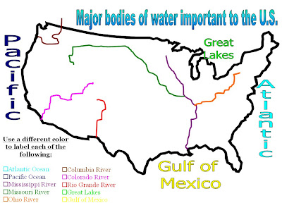 Maps Us Map And Rivers - Us map of rivers and lakes