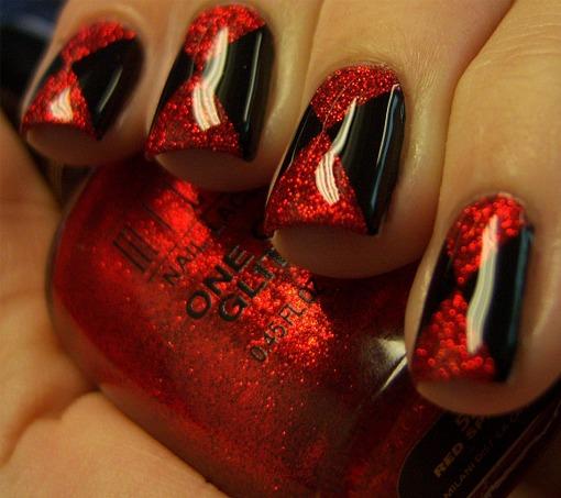 Ногти черно красный дизайн