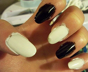 First I Painted Every Other Nail White Then Went Back And Did The Rest Black Out Has A Very Thin Consistency That Found Hard To Control