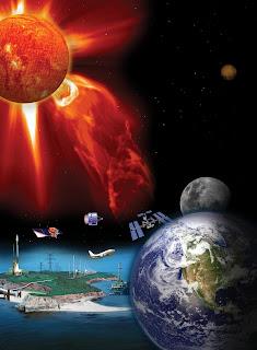 Imágen que muestra muchas de las tecnologías del siglo XXI que son vulnerables a las tormentas solares