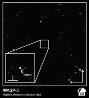 Imagen que muestra a la estrella WASP-3