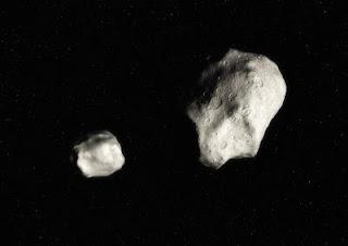 Ilustración de un asteroide binario