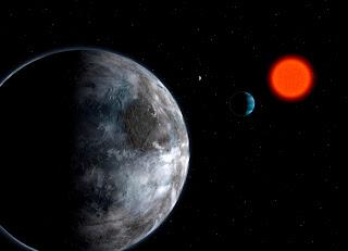Impresión artísitica del sistema planetario alrededor de la estrella enana roja Gliese 581. Con un radio sólo 50% más grande que el de nuestra Tierra, el planeta Gliese 581c (en la foto) está situado en la llamada zona habitable de su estrella madre, es decir, donde puede existir agua líquida