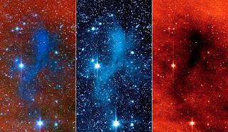 Esta serie de imágenes del telescopio Spitzer muestran una masa oscura de gas y polvo, llamada núcleo, donde probablemente nuevas estrellas y planetas surgirán
