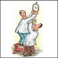 Caricatura de un par de físicos y relojes