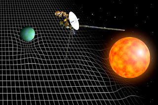 Ilustración que muestra la sonda Pioneer y la deformación del espacio-tiempo producida por una estrella y un planeta