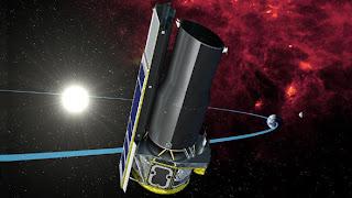 Concepto artístico del paso del telescopio Spitzer a través de la cola de polvo de la Tierra