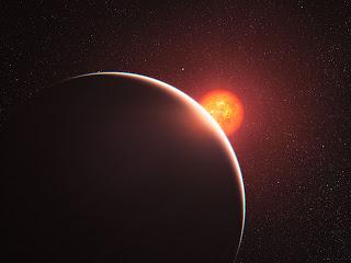 Ilustración artística del exoplaneta GJ 1214b orbitando su estrella