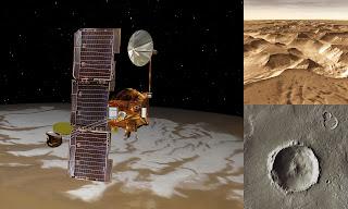 Concepto artístico del orbitador Mars Odyssey e imágenes tomadas por la sonda